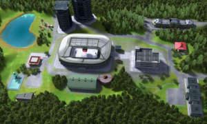 3D Ansicht des Stadionumfelds - Eishockeymanager